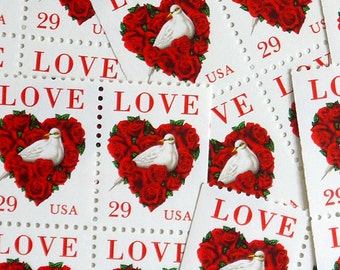 SALE! - 50 pieces - 1994 29 cent LOVE DOVE Vintage unused stamps - great for valentines, wedding invitations, save the dates