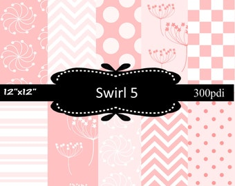 50% off Sale, Pink Coral Swirl 5, 10 Digital papers, scrapbooking papers with dots, chevron, flower, and lines