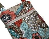 teal coral floral cross body purse sling bag adjustable strap shoulder vacation travel hobo hipster kindle rust