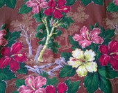 Vintage Barkcloth Fabric  Brown Floral - 1.8 Yards