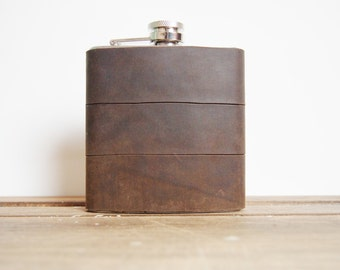 Personalised Hip flasks - Dark Olive Brown Recycled Leather Strips, Waxed leather Hand Engraved, Best Man, cowboy leather