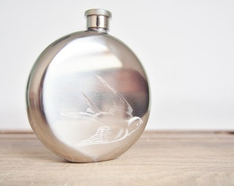 Swallow Hip  Flask - Customized Hip Flask, Initials and Dates, Wedding flask, hand engraved circular  flask
