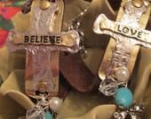 Leather Textured Cross Charm Bracelet Hand Stamped Love Adjustable