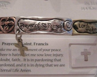 Prayer of St. Francis Tri Color Stretch Bracelet Cross charm bracelet