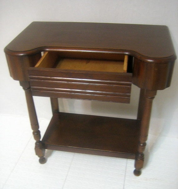 Vintage Entry Table Display ~ Antique art deco walnut entry hallway foyer sofa table with