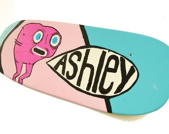 Skateboard Wall Art, Skateboard Decor, Personalized Wall Decor, Girl's 18 inch Turquoise and Pink Wood Skate Board Sign