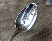 I'm feeling tipsy and fresh - upcycled spoon, silver plated, recycled, hand-stamped