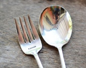 Fabulous Salad Server set - BON MANGE and SALADE - Silverplate salad server
