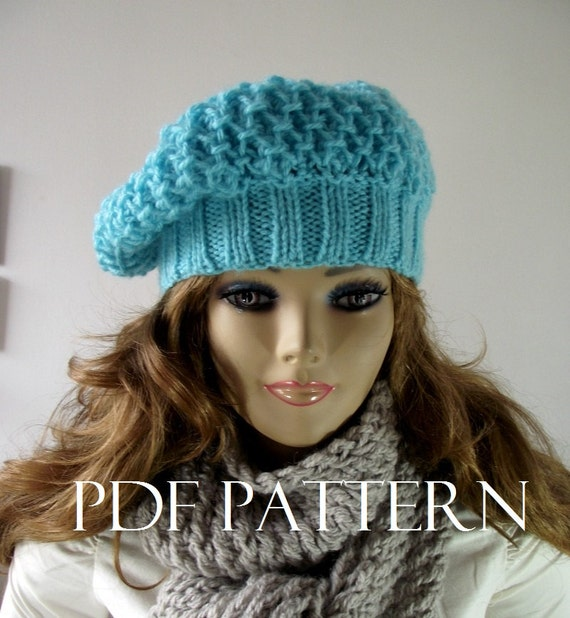 KNITTING HAT PATTERN French Lola Boina Hat Instant Download pdf pattern Slouchy Winter Hat