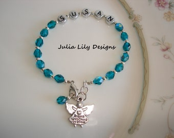 Personalized Bracelet for Girls, Women, with Birthstone and Angel Charm, Gift Boxed