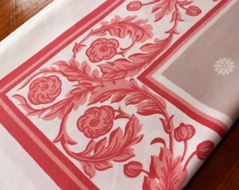 Vintage 1950s Linen Tablecloth Retro Printed Red Pink Salmon Coral Taupe