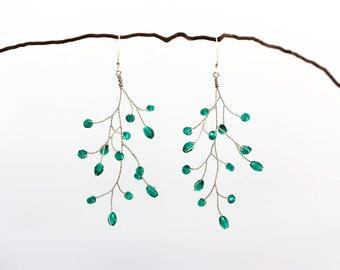 651_Emerald earrings, Crystal earrings, Silver earrings, Green earrings, Earrings crystals, Emerald wedding, Bridal earrings Wedding jewelry