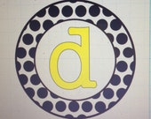 Circle of Large Polka Dots with Initial Car Decal - 2 Colors