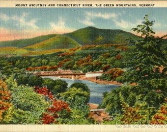 Lot of Ten Vintage Linen Postcards of Mount Ascutney and the Conneciticut River Vermont