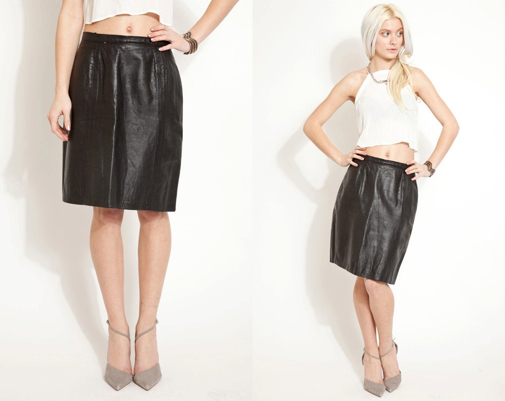 vintage leather 80s 90s skirt by storeythreads on etsy