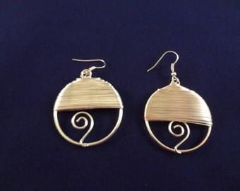 Silver Hoop Wire Wrapped Earrings   Dangle Earrings