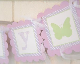 Butterfly theme birthday banner in pink and green