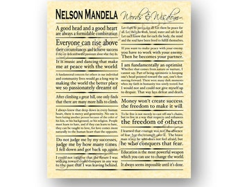 Nelson Mandela Words and Wisdom 8x10 Print - Inspirational Quotes - Home Decor Office Grad Gift - Parchment Design by Ginny Gaura