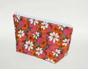 Small Makeup Bag, Flowers, Cosmetic Bag, One of a Kind