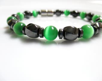 Magnetic Necklace, Magnetic Therapy Necklace, Green Cats Eye Necklace