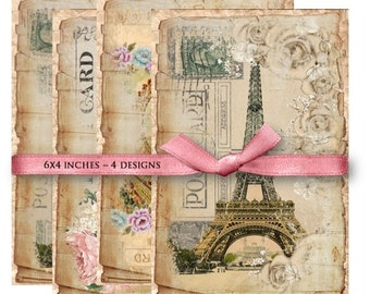 Digital Collage Sheet Download - Shabby Paris Postcards -  840  - Digital Paper - Instant Download Printables
