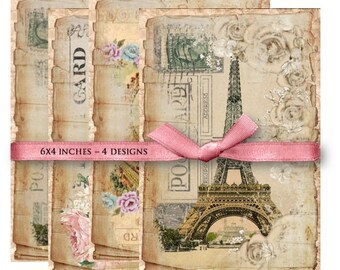 Digital Images - Digital Collage Sheet Download - Shabby Paris Postcards -  840  - Digital Paper - Instant Download Printables
