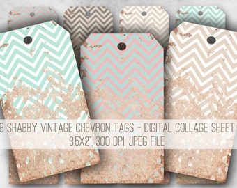 Digital Collage Sheet Download - Vintage Shabby Chevron Tags -  972  - Digital Paper - Instant Download Printables