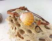 Sunrise Shell Bracelet, Leather Cord, Sterling Silver, Adjustable, Island Jewelry, Shell