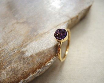 SALE, Plum Druzy Ring, 18K Gold Vermeil Bezel Ring 6mm, Druzy Stone Ring, Gold Ring, Druzy Jewelry Gifts For Her, Gold Ring, Solitaire Ring