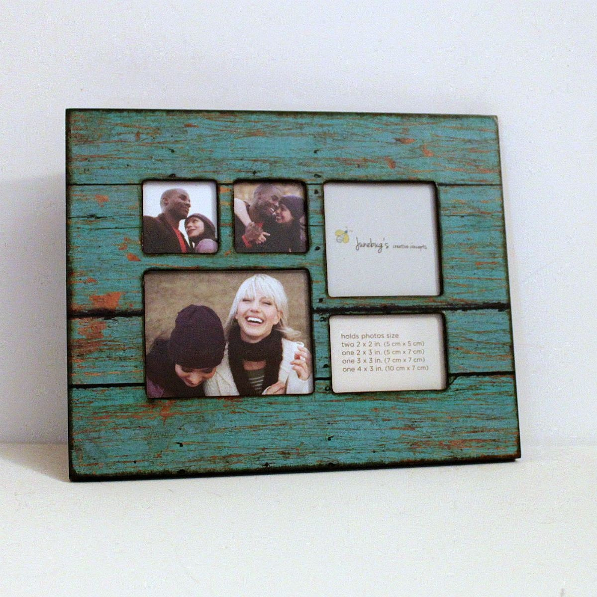 Collage Wood Photo Frame Turquoise Distressed Wood
