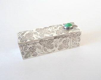 Vintage 800 Silver Lipstick Holder Etched Leaves Turquoise Gemstone