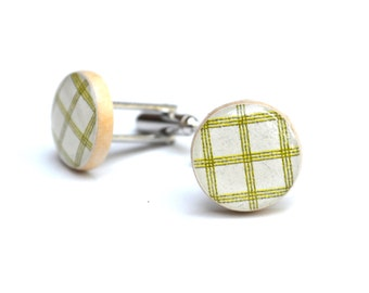 Recycled Mens Green plaid cuff links, 5th anniversary gift, wood cufflinks, green cufflinks eco friendly mens accessories starlight woods