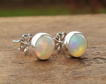 6mm Ethiopian Opal Stud Post Earrings Fine Sterling Silver Shiny - Little Bits of Color
