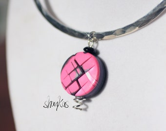 CLEARANCE******Polymer Clay Pendant - pink - WEARABLE ART!!!!