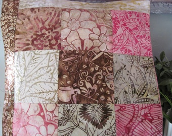 """14"""" x 14"""" Batiks Cotton PILLOW COVER - Macciato Coffee Java Latte Steaming Coffee Mugs with Pink Florals"""