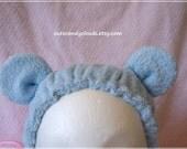 Kawaii bath time teddy bear ear hair drying wrap blue