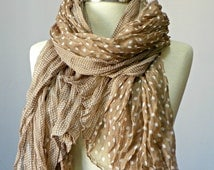Women spring Scarf, Beige polka dotted Crinkle scarf, spring scarf is made of Crinkle soft fabric