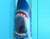 3 D Shark Hand Carved and Painted on Bamboo  Wall Hanging- Boys Room- Nautical