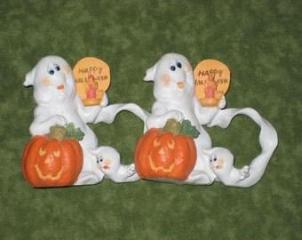 Halloween Napkin Holders, Ghost and Jack O Lantern pumpkin, Orange and White