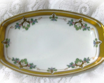 Antique Two Handled Dish Hand Painted with Flowers by W. Pickard 1912-1918