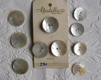 "Vintage Buttons - Modella Pearl Buttons - Six Large 7/8"" and 4 Small 3/4"" - Two Hole MOP Buttons - 10 Buttons"