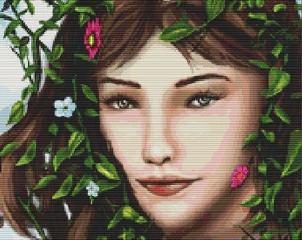 Cross Stitch Pattern Flower Girl Floral Nature Design Instant Download pdf