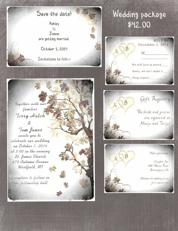Cheap Wedding Invitations Packages: Fall Wedding Invitation Package For Janel Two Sided Program
