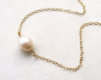 calypso. necklace. (soft cream ivory. freshwater pearl. 14k gold. jewelry. made to order)