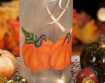 Lighted Wine Bottle, Hand Painted - Pumpkins, Fall Decor, Thanksgiving Decor, Halloween Pumpkins, Personalized Hostess Gift, Accent Lamp
