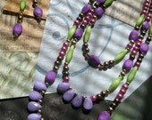 MAIKA Long Beaded Necklace and Earrings Jewelry Set in Lime Green Purple Brown Violet