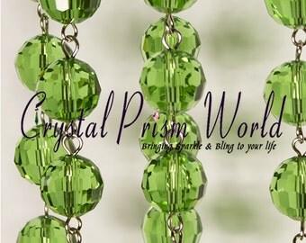 6 Feet of Green Crystal Chandelier Glass Lamp Beaded Chain