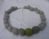 felt beads necklace, felt beads, felt, felt necklace, unique, gray beads, great felt beads, wool beads,