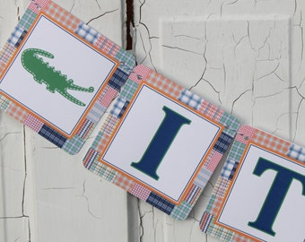 PREPPY PLAID ALLIGATOR Happy Birthday Party or Baby Shower Banner Madras