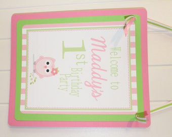 LOOK WHOOO'S .... OWL Theme Happy Birthday or Baby Shower Door or Welcome Sign Pink  Pink Green